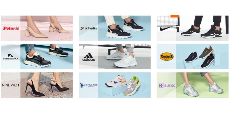 Dünya brendləri, Adidas, Nike, Kinetix, Lumberjack, Polaris, Nine West, Butigo, Puma, Reebok, Hummel, Dockers by Gerli, US Polo